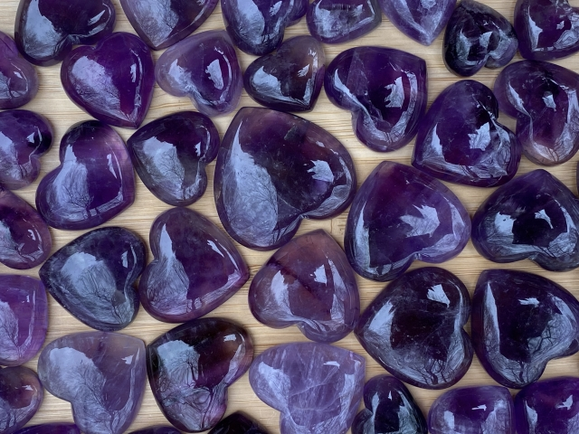 Amethyst Heart Cabochons - Wholesale Pack