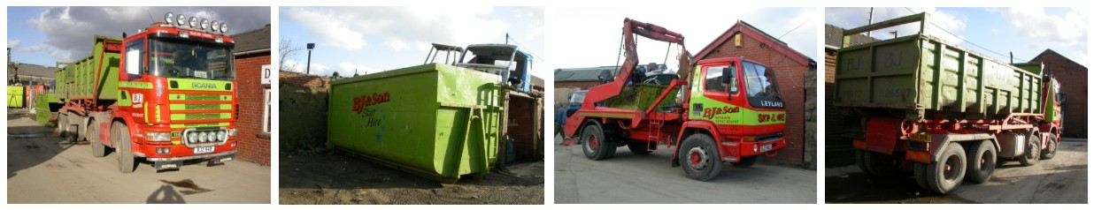 lorry carrying skips